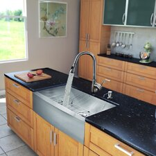 "All in One 36"" x 22.25"" x 16"" Farmhouse Kitchen Sink and Faucet Set"