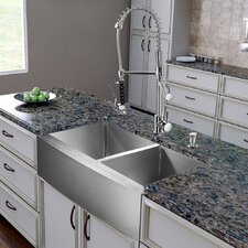 "All in One 36"" x 27.25"" Farmhouse Double Bowl Kitchen Sink and Faucet Set"