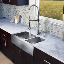 "All in One 36"" x 27"" Farmhouse Double Bowl Kitchen Sink and Faucet Set"