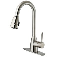 One Handle Single Hole Pull-Out Spray Kitchen Faucet with Deck Plate