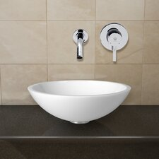 <strong>Vigo</strong> Phoenix Stone Glass Vessel Sink with Wall Mount Faucet
