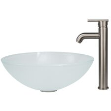 Frost Vessel Sink and Faucet Set