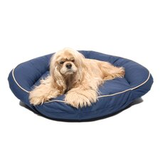 Classic Twill Bolster Dog Bed in Blue with Khaki Cording