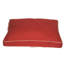 Classic Twill Rectangular Pet Bed in Red with Khaki Cording