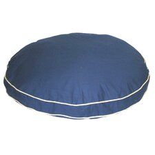 Twill Classic Round Pet Bed in Blue with Khaki Cording