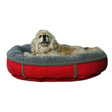 Faux Suede Round Comfy Cup® Dog Bed in Red