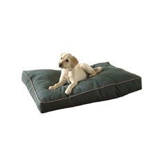 Indoor/Outdoor Dog Bed in Hunter Green with Khaki Cording