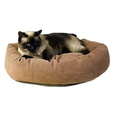 Microfiber Bagel Dog Bed in Caramel