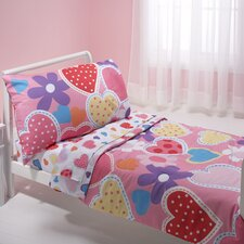 Hearts 4 Piece Toddler Bedding Set