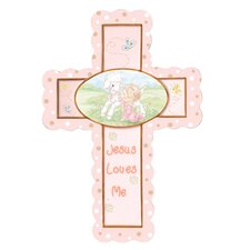 Jesus Loves Me Cross with Easel Stand Baby Girl Figurine