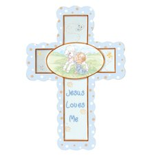 Jesus Loves Me Cross with Easel Stand Baby Boy Figurine