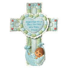 Precious Little Blessings Baby Boy Cross Figurine with Stand