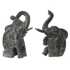 2 Piece Bakari Wood Carved Elephant Statue Set