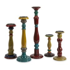 Jasper Wood Candlesticks (Set of 5)