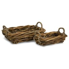 <strong>IMAX</strong> Capuchin Rattan Serving Tray (Set of 2)