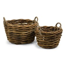 <strong>IMAX</strong> Capuchin Round Oversized Rattan Basket (Set of 2)