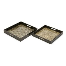 Jacobs Mother of Pearl Square Serving Tray (Set of 2)