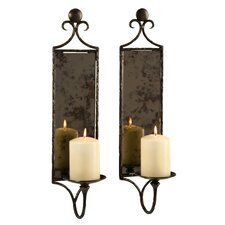 <strong>IMAX</strong> Hammered Mirror Wall Sconce (Set of 2)