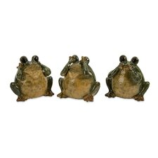 3 Piece See Hear Speak Frogs Figurine Set