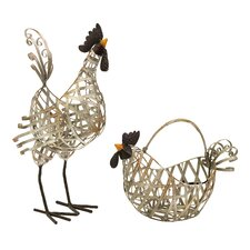 2 Piece Gentry Wire Chicken Figurine
