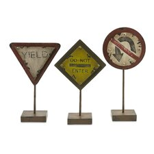 Tabletop Street Signs Figurine (Set of 3)