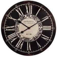 "Grand Hotel 23.25"" Wall Clock in Black & White"