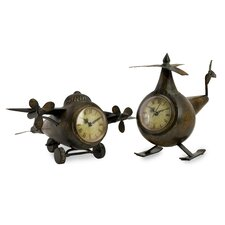2 Piece Lindbergh Aviation Clock Set