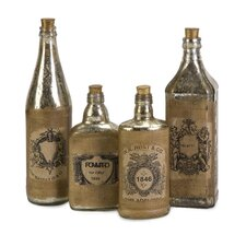 Vintage Bottle with Label (Set of 4)