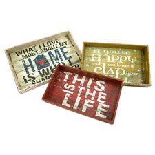 Morris Home Happy and Life Trays (Set of 3)