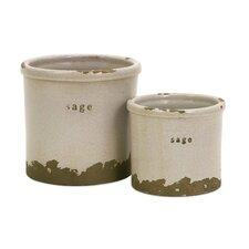 Sage Herb Pots - Set of 2
