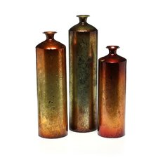 3 Piece Tangerine Vase Set