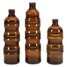 <strong>IMAX</strong> 3 Piece Cumulas Decorative Bottle Set with Wire Wrap