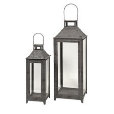 2 Piece Powell Steel and Glass Lanterns Set
