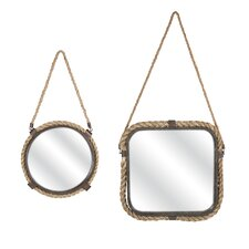 Molyneux 2 Piece Jute and Metal Mirrors Set