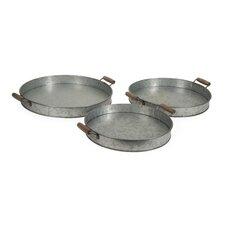 3 Piece Galvanized Round Trays Set
