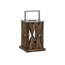 Santiago Metal and Glass Wooden Lantern