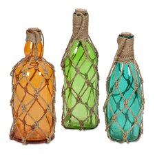 3 Piece Williams Glass Bottles with Jute Hangers Set