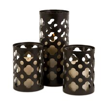 3 Piece Norte Cutwork Iron and Glass Candle Holders Set