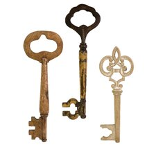 Mason 3 Piece Wood Wall keys Set
