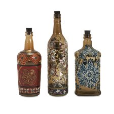 3 Piece Reclaimed Hand-Painted Decorative Bottle Set