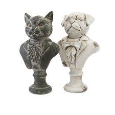 2 Piece Regal Cat and Dog Bust Set