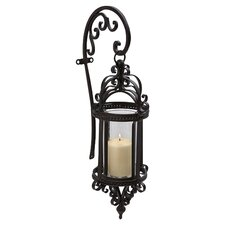 Dempsy Wrought Iron and Glass Hanging Wall Lantern (Set of 2)