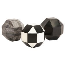 Nikki Chu 3 Piece Harris Geometric Bone Ball Sculpture Set