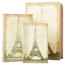3 Piece Eiffel Tower Travel Book Box Set