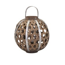 Korben Bamboo/Glass/Galvanized Metal Lantern