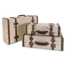 3 Piece Suitcase Set in Antique Ivory
