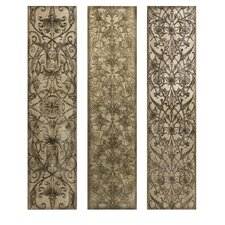 Filigree Pattern Wall Panel in Black/White (Set of 3)