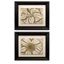 Contour Line Art Flower 2 Piece Original Painting Plaque Set