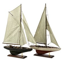 2 Piece Antiqued Sailing Vessel Set