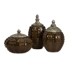 3 Piece Darcy Hobnail Canister Set